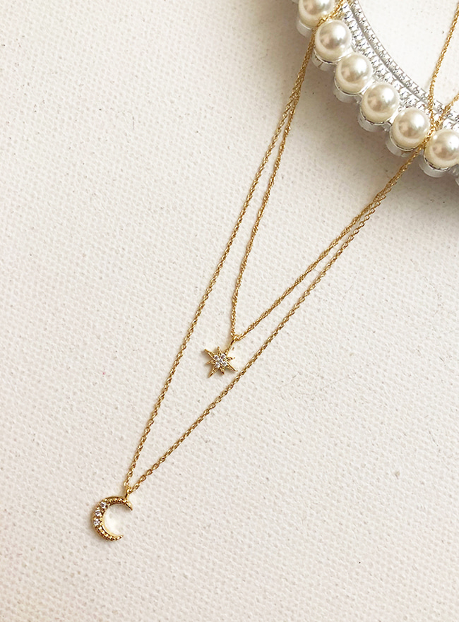 [7차 재입고] moon and star necklace (2 colors)