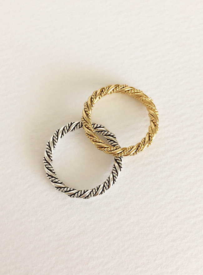 (Silver 925 & 16k Gold plating) pattern ring (5 sizes)