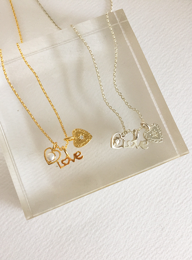 (Silver 925 & 18k Gold plating) deep in love necklace