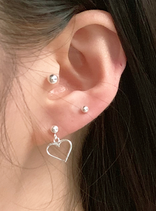 (Silver 925) ball heart earring (2 colors)