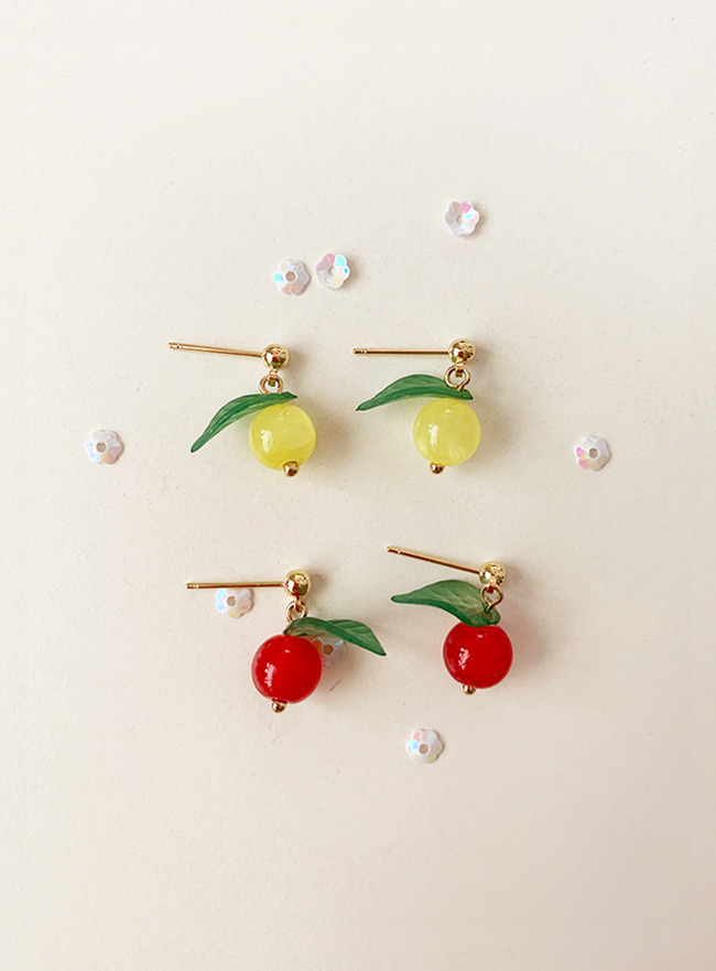 cherry earring (2 colors) (Allergy free)