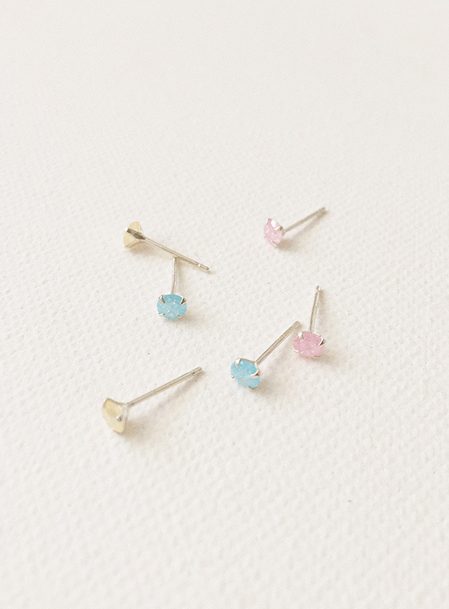 (Silver 925) sugar cubic earring (3 colors)