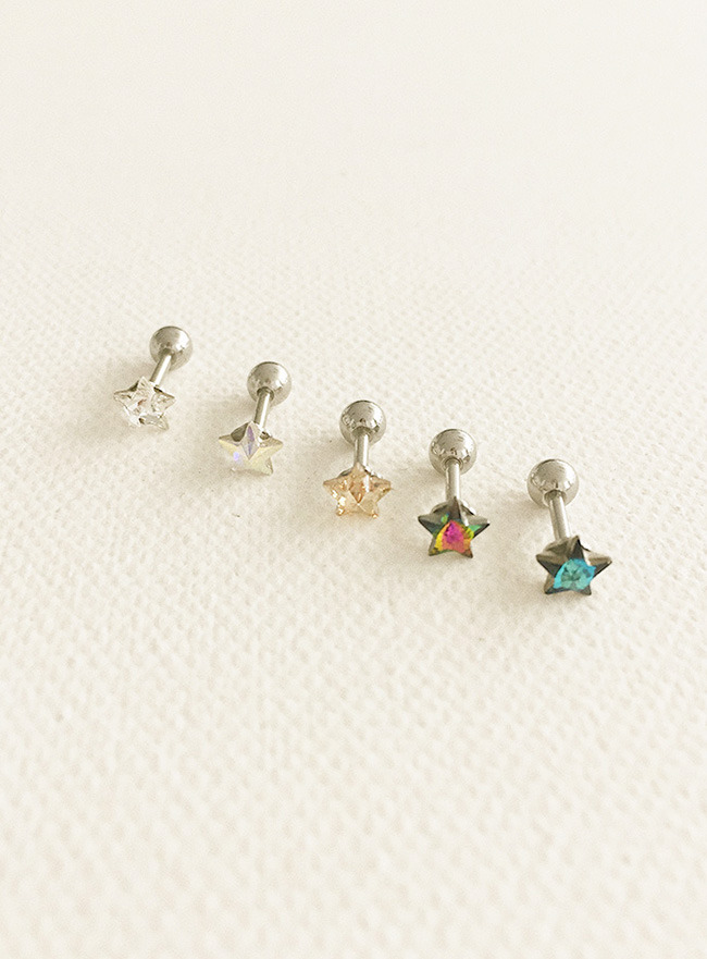 (써지컬 스틸) star cubic piercing (5 colors)