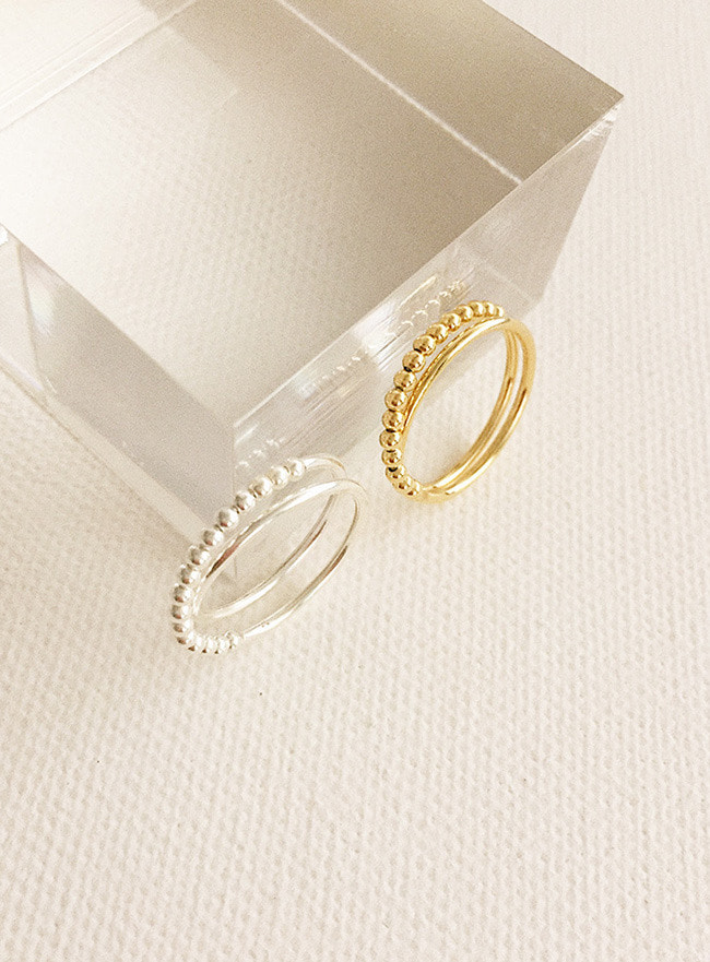(Silver 925) dot layered ring (4 sizes) (2 colors)