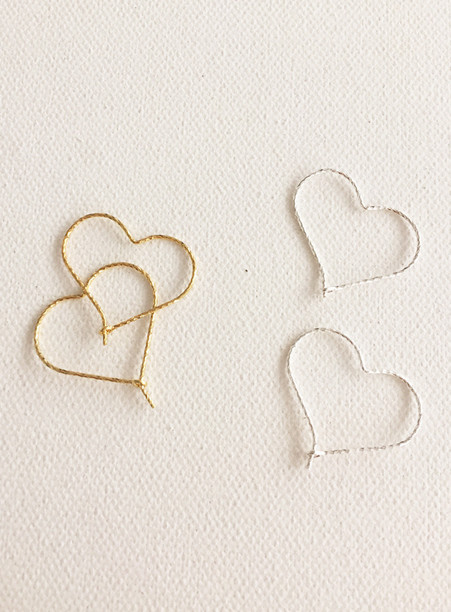 (Silver 925 & 16k Gold plating) delicate heart earring
