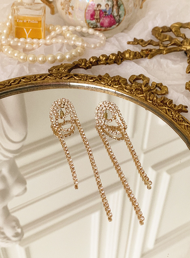 cubic chandelier earring (2 colors) (Allergy free)