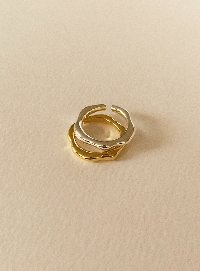 (Silver 925) uneven ring (2 colors)