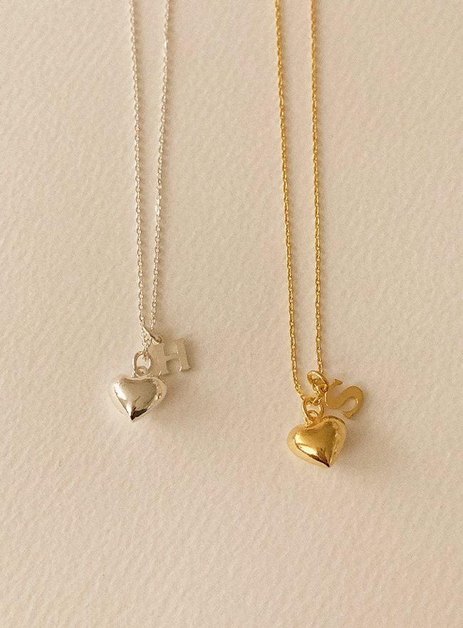 주문제작 (Silver 925) mini initial heart necklace (A~Z) (2 types)