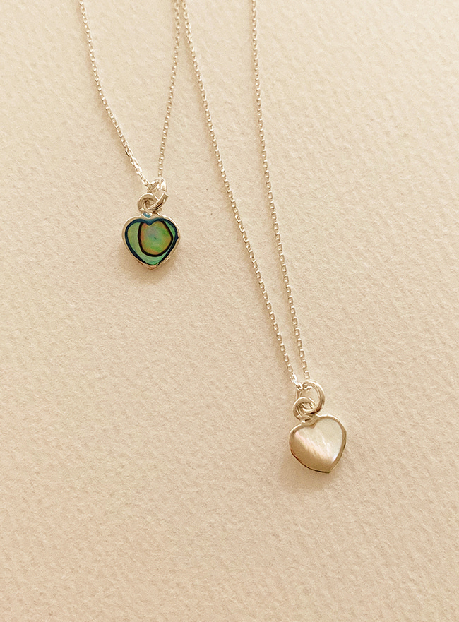 (Silver 925) nacre heart necklace (자개, 2 colors)