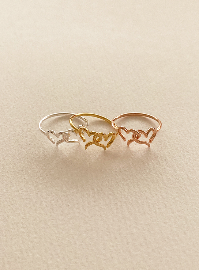 (Silver 925) heart and heart ring (5 sizes)