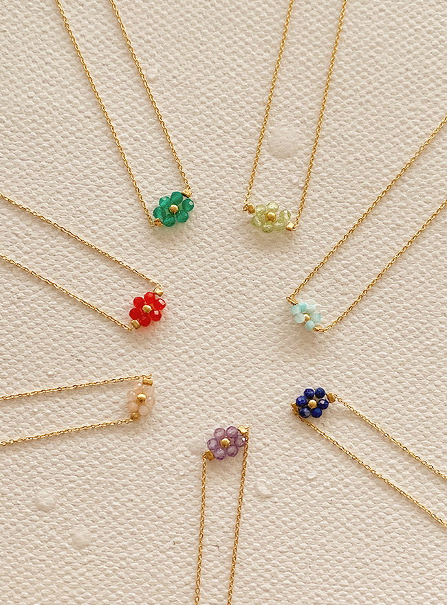 [주문폭주] flower beads necklace (7 colors)