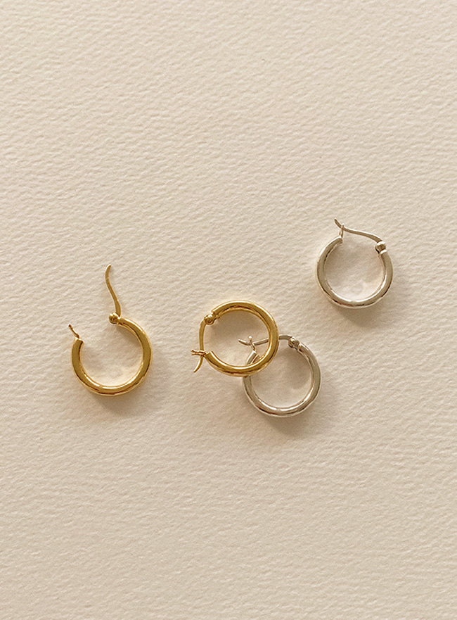 (Silver 925) usual ring earring (2 colors)