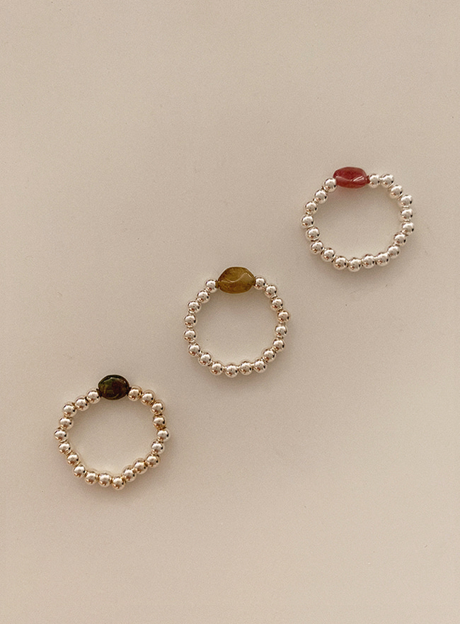 (Silver 925) gem and ball ring (3 colors)