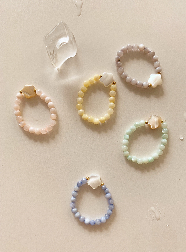 petit nacre gem ring (5 colors)