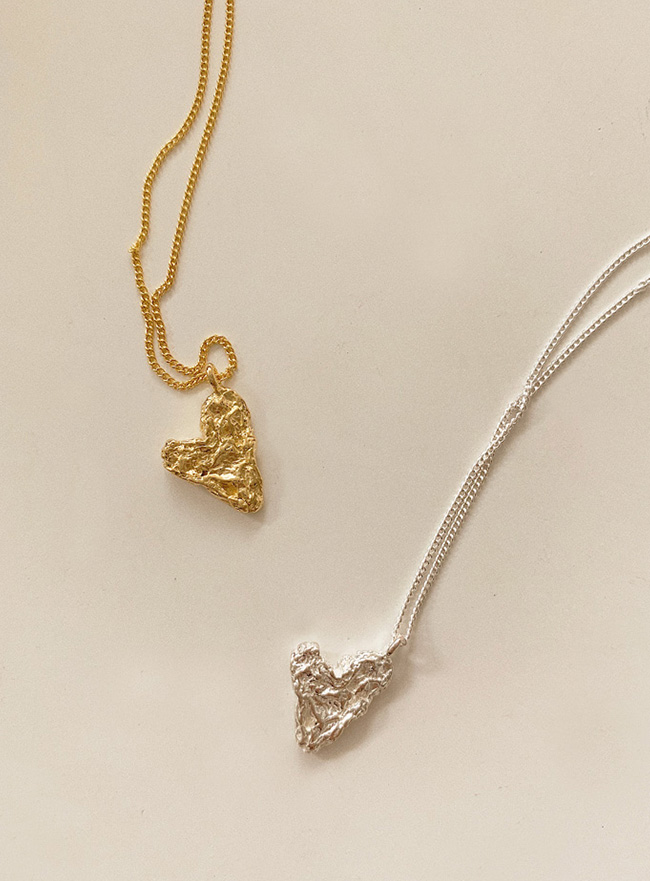 (Silver 925) texture heart necklace (2 colors)