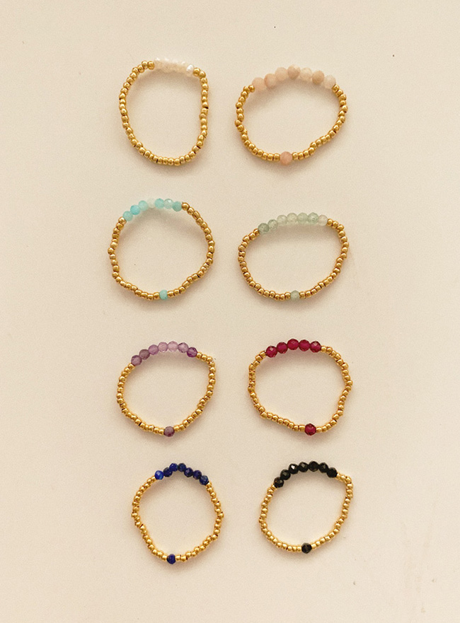 gold and color beads ring (8 colors)