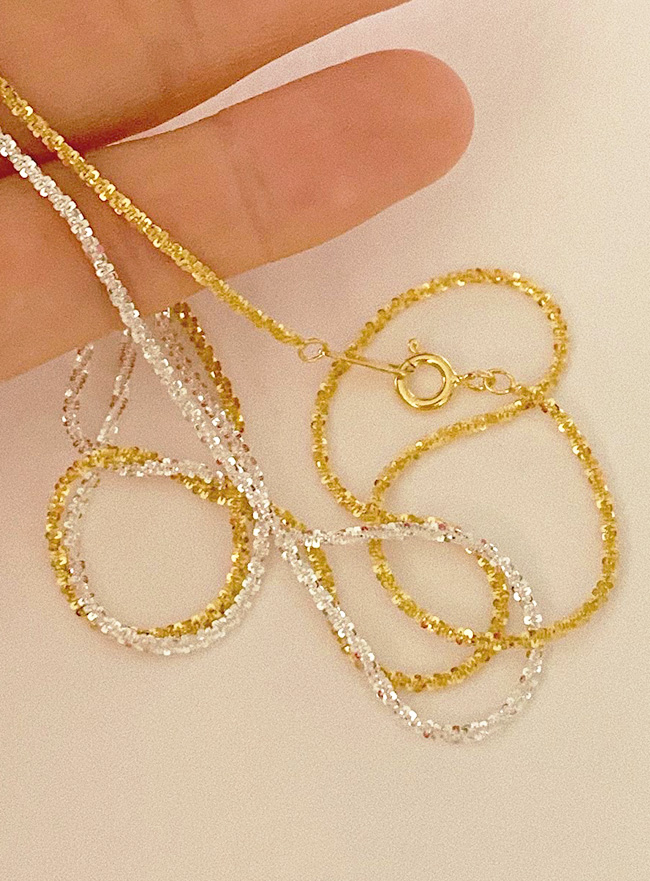 (Silver 925) twinkle chain necklace (2 colors)