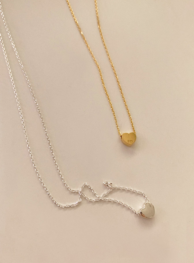 (Silver 925) cute heart necklace (2 colors)