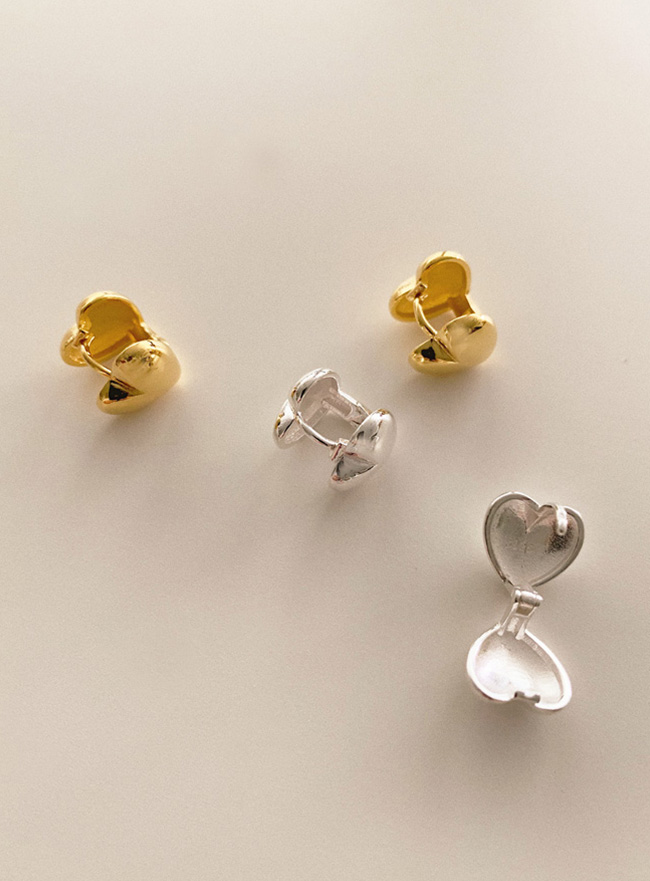 (Silver 925) heart ball earring (2 colors)