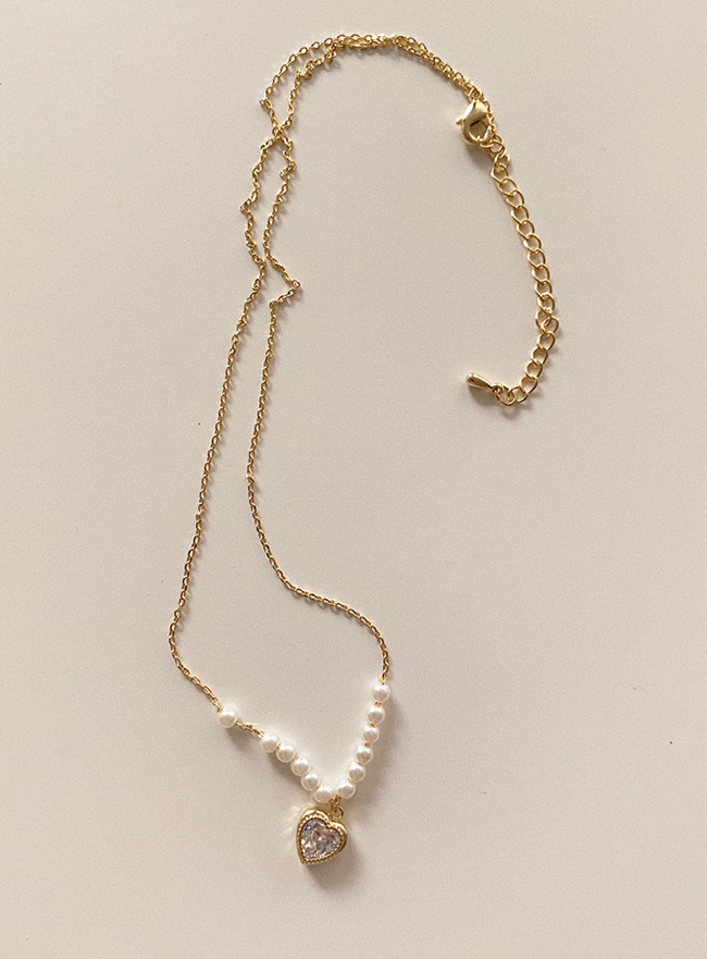 [재입고X] pearl this love necklace (2 colors)