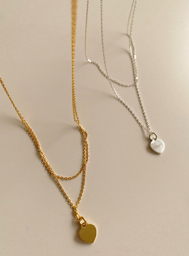 (Silver 925) love layered necklace (2 colors)