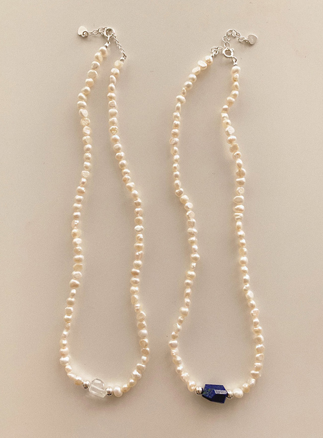 (Silver 925) one point pearl necklace (2 colors)