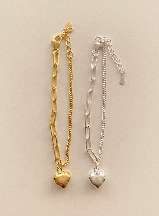(Silver 925) mix chain heart bracelet (2 colors)