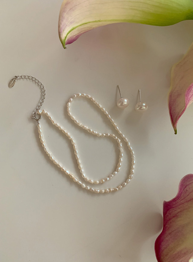 [SET] [D.SEO] (Silver 925) deep pearl necklace + earring