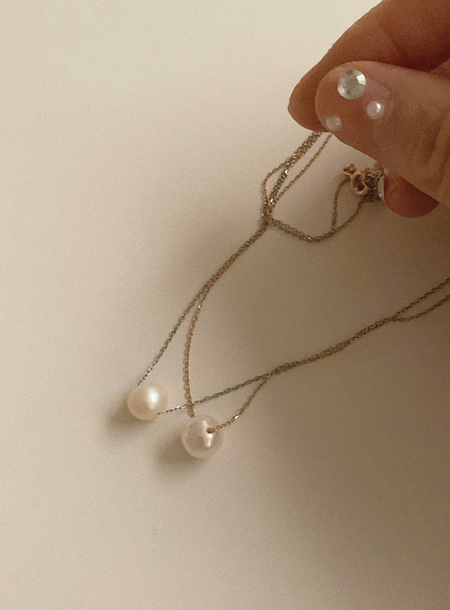 (Silver 925) ladyish pearl necklace (2 colors)