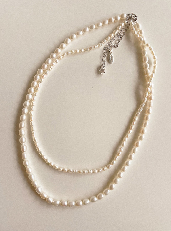 [SET] [D.SEO] (Silver 925) meteor + soft pearl necklace
