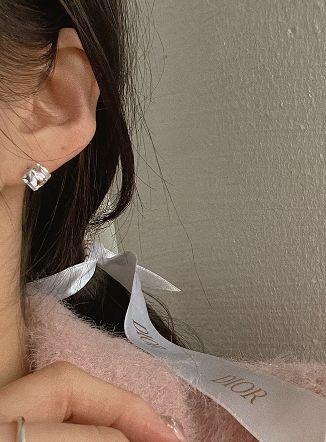 (Silver 925) crystal cube earring