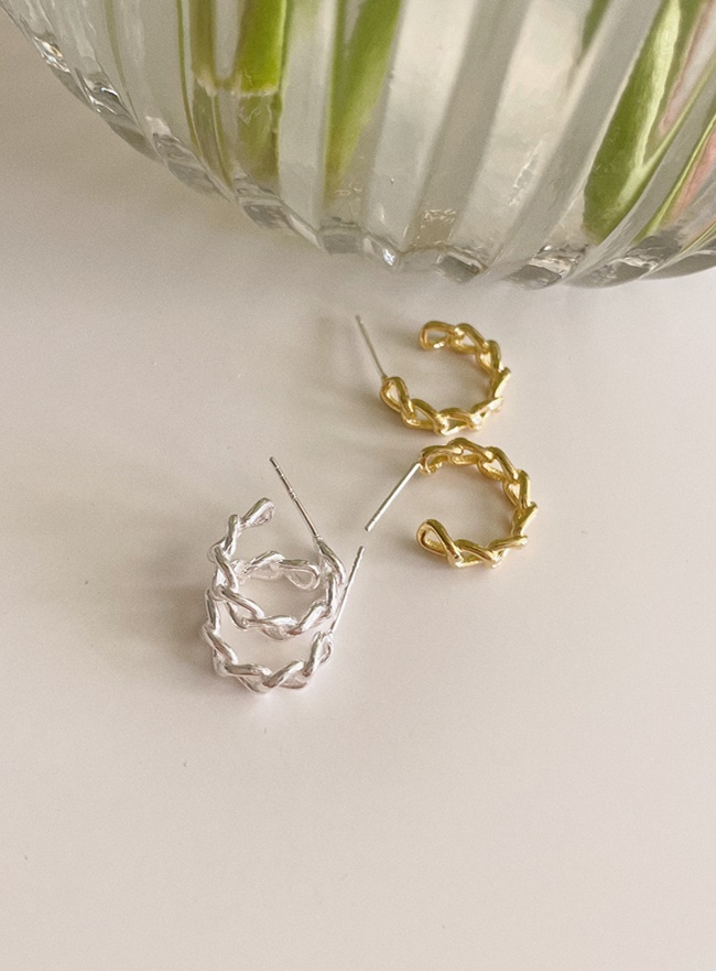 (Silver 925) bold chain earring (2 colors)