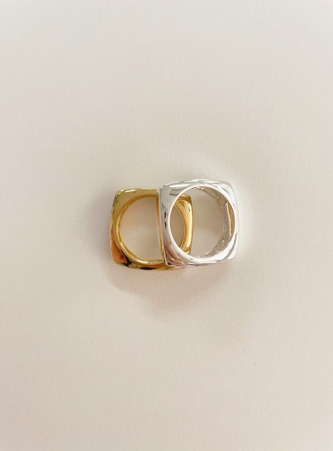 (Silver 925) square ring (2 colors) (4 sizes)