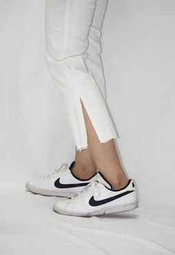 DEEP LOGO - SLIT COTTON PANTS (WHITE)