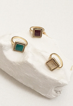 [무료배송] mini square ring (13호) (3 colors) (Allergy free)