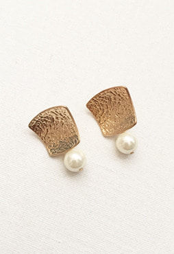 leather pearl earring (2 colors) (Allergy free)