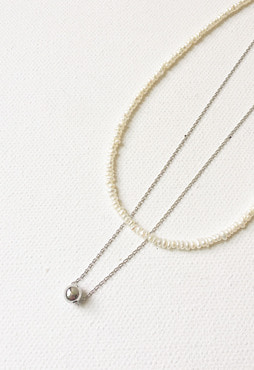 pearl line necklace (담수진주, Allergy free)
