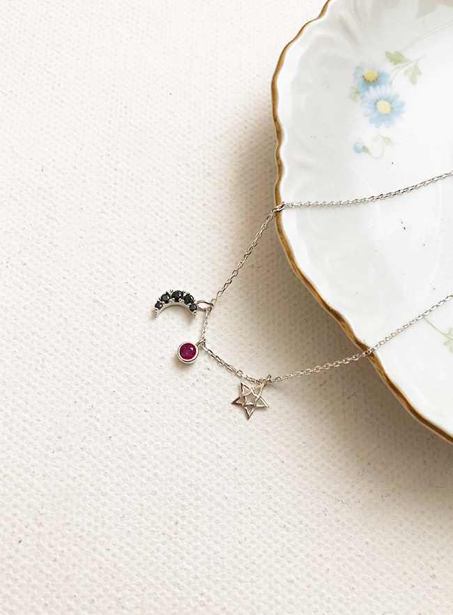 (Silver 925) space necklace