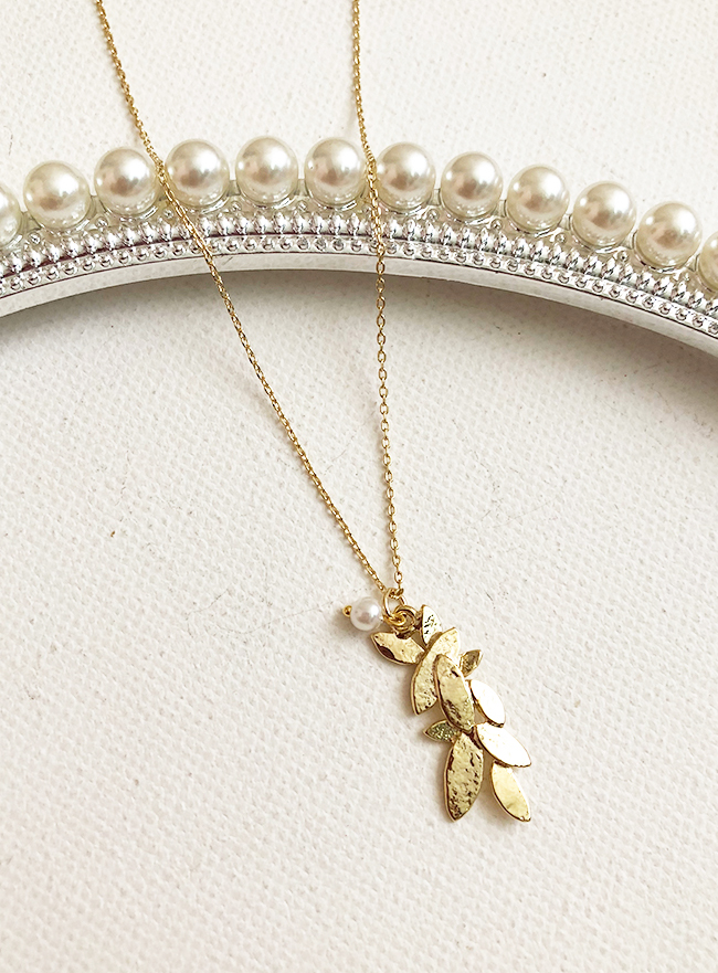 [무료배송] leaf pearl necklace