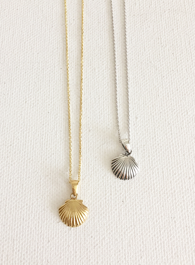 (Silver 925 & 18k Gold plating) seashell necklace