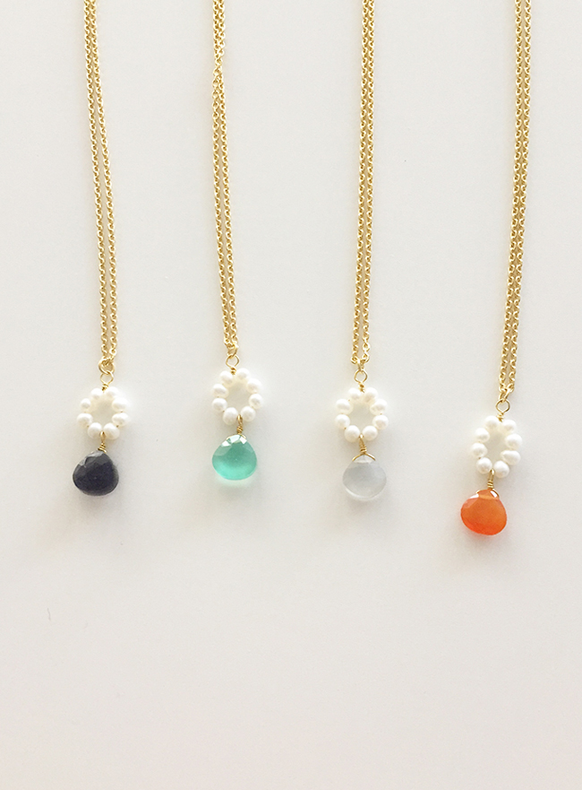 [MADE DEEP] deep stone necklace (천연석, 4 colors) (Allergy free)