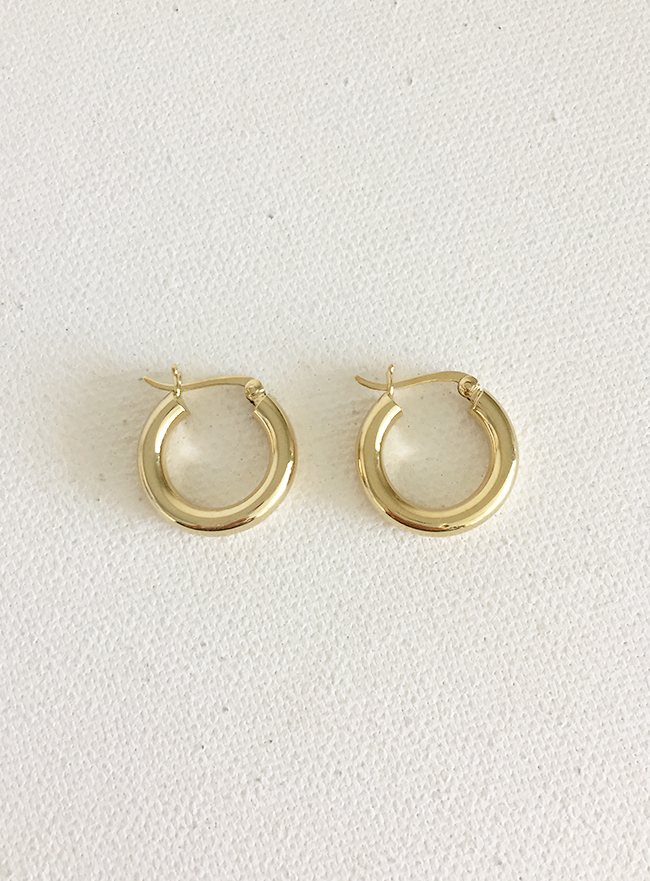 (Silver 925 & 18k Gold plating) day-by-day earring (3mm)