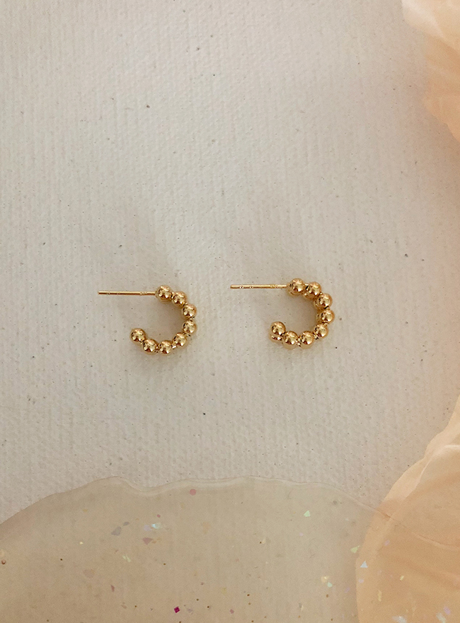 (Silver 925 & 18k Gold plating) ball ball earring