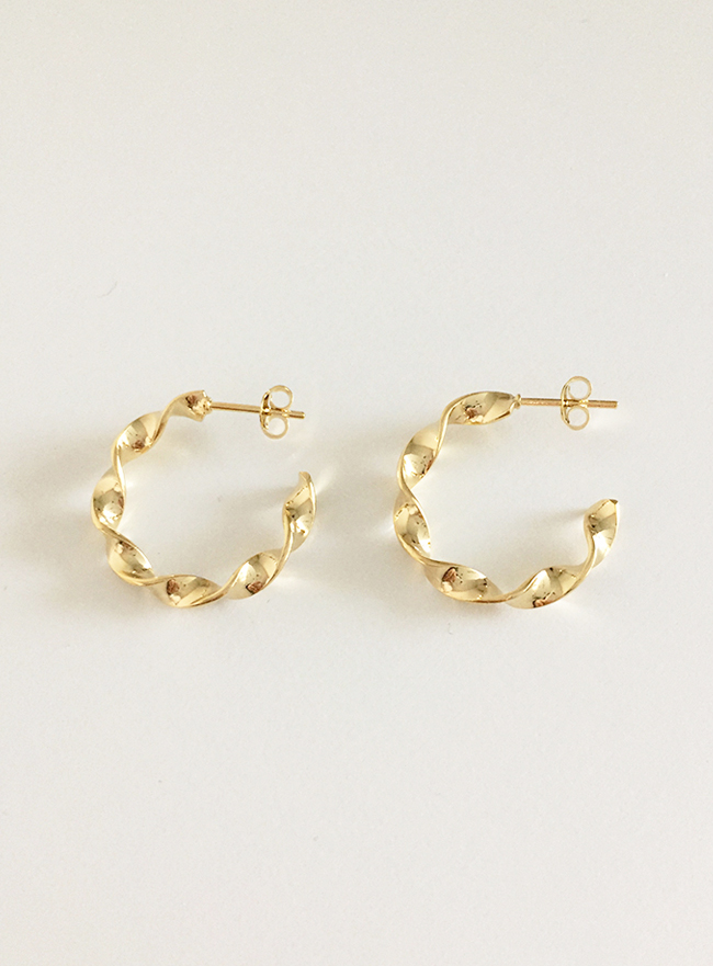 (Silver 925 & 16k Gold plating) brillo ring earring