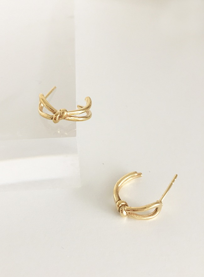 (Silver 925 & 16k Gold plating) ribbon earring