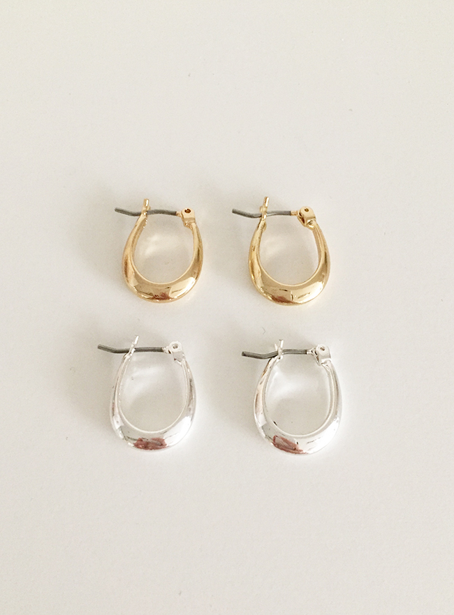 petit ring earring (2 colors) (Allergy free)
