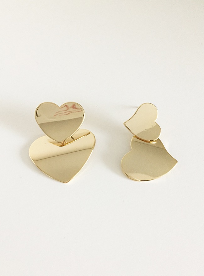 double heart earring (2 types) (2 colors)