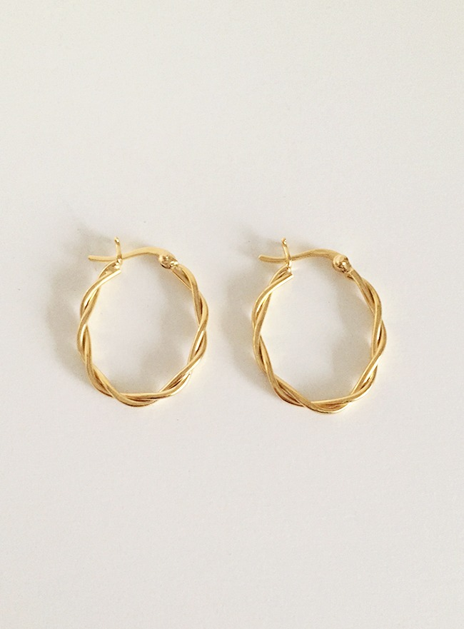 (Silver 925 & 18k Gold plating) twiner earring
