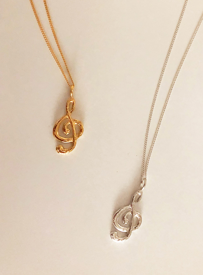 (Silver 925 & 18k Gold plating) the treble clef necklace
