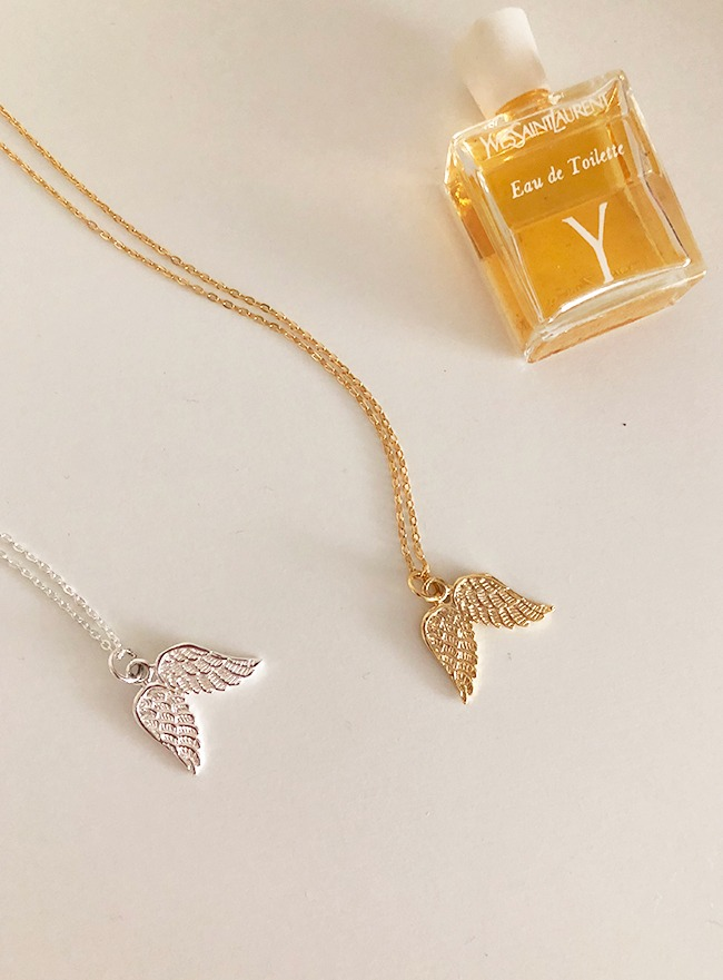(Silver 925 & 16k Gold palting) angel wings necklace